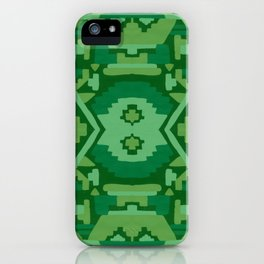 Geometric Aztec in Forest Green iPhone Case