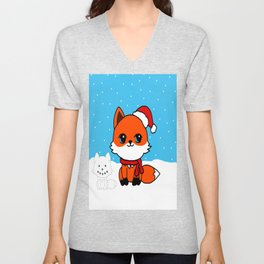 A Fox in the Snow Unisex V-Neck