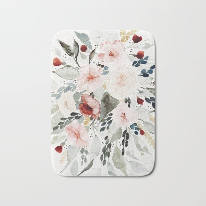 Loose Watercolor Bouquet Bath Mat