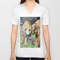 tigers V-neck T-shirts featuring Tigers by Irene Jaramillo