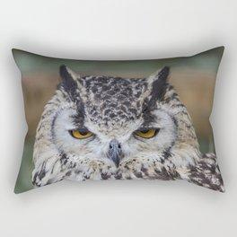 Angry Bengalensis Eagle Owl portrait. Rectangular Pillow