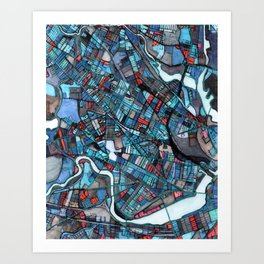 Abstract Map - Cambridge, MA Art Print