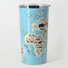 Cartoon animal world map for children and kids, Animals from all over the world Travel Mug