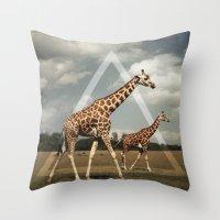 giraffes Throw Pillows featuring Giraffes by Niklas Rosenkilde