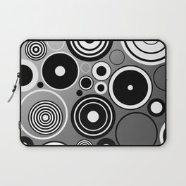 Geometric black and white rings on metallic silver Laptop Sleeve