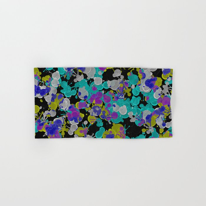Dark Splatter - Abstract, paint splatter pattern in black, cyan, yellow, white and green Hand & Bath Towel