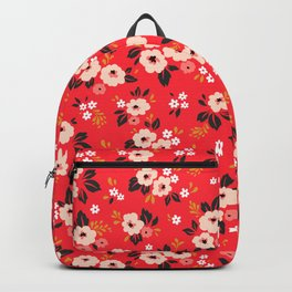 05 Ditsy floral pattern. Red background. White and pink flowers. Backpack