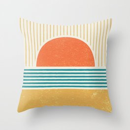 Sun Beach Stripes - Mid Century Modern Abstract Throw Pillow