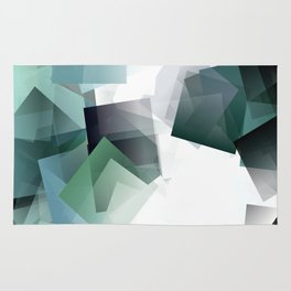 Geometric art in blue, green and white blocks. A translucent dimension. Rug