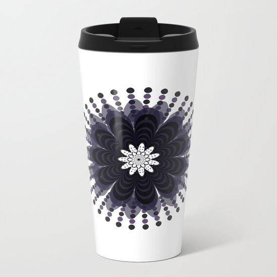 Graphic Mandala Flower Lilac Metal Travel Mug