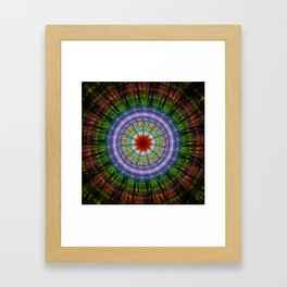 Groovy painterly mandala with tribal patterns Framed Art Print