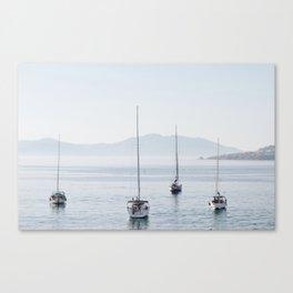 Sailboats at bay - Mykonos Canvas Print