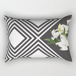 Square tiling patterns & white flowers Rectangular Pillow