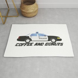 Police Car Patrol Officers Like Coffee and Donuts Rug