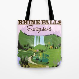 Rhine Falls Switzerland vintage style travel poster. Tote Bag