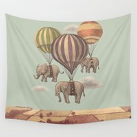 elephants Wall Tapestries featuring Flight of the Elephants - mint option by Terry Fan