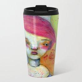 Girl with Pink Hair Metal Travel Mug
