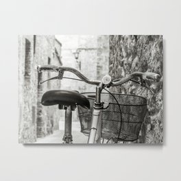 Red old bicycle in a little alley of a medieval village Metal Print