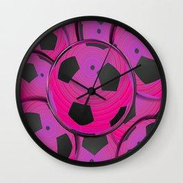Pink Black Soccer Balls Wall Clock