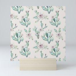 Pretty Cactus Rose Pattern Pale Pink + Green Mini Art Print