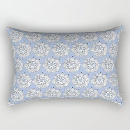 Background abstract white doodle-flowers, pattern, vector, texture design. Rectangular Pillow