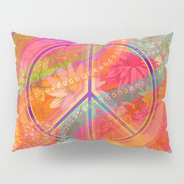 Hippie Chic Paisley Flowers Peace Pillow Sham