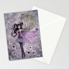Purple Passion Little Gothic Fairy in the Stars Illustration by Molly Harrison Stationery Cards