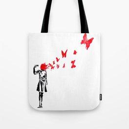 gun and butterflies banksy Tote Bag