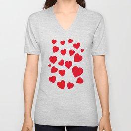 Red Hearts Unisex V-Neck