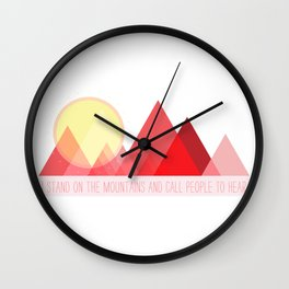 Geometric Color Block Mountains (Reds) Wall Clock
