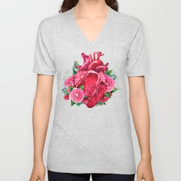Watercolor heart with floral design Unisex V-Neck