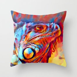 Iguana Watercolor Throw Pillow