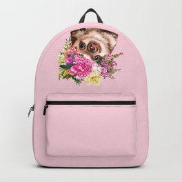Flower Crown Baby Sloth in Pink Backpack