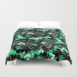 Mount Cook Lily - Green/Black Duvet Cover