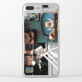 Funky Vintage Abstract Scenery Clear iPhone Case