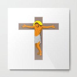 jesus christ on cross retro Metal Print