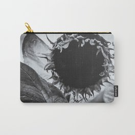 Staring Sunflower, Black and White Photograph Carry-All Pouch