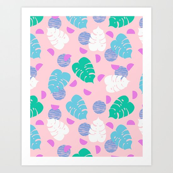Monstera leaf house plant abstract modern print neon pink pastel summer vacation palm springs  Art Print