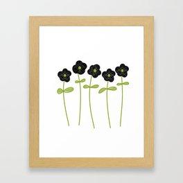 Black lacy flowers Framed Art Print