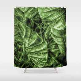 Painted Green Monstera palm leaves by Brian Vegas Shower Curtain