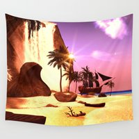 pirate ship Wall Tapestries featuring Pirate ship  by nicky2342