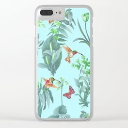hummingbird floral blue Clear iPhone Case