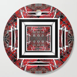 NUMBER 221 RED BLACK GRAY WHITE PATTERN Cutting Board