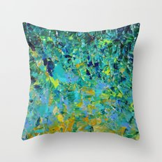 BEAUTY BENEATH THE SURFACE - Stunning Ocean River Water Nature Green Blue Teal Yellow Aqua Abstract Throw Pillow