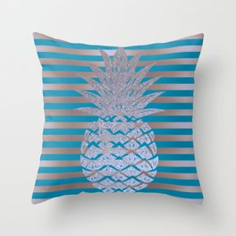 GLITTER PINEAPPLE ON GOLD BLUE STRIPES Throw Pillow