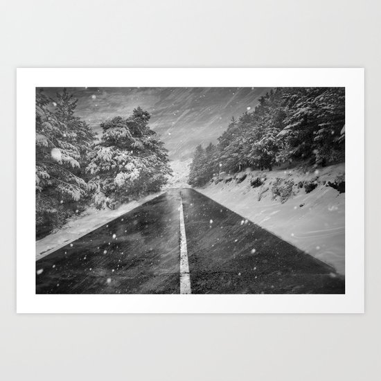 """Snowstorm in the road"" At the mountains Art Print"