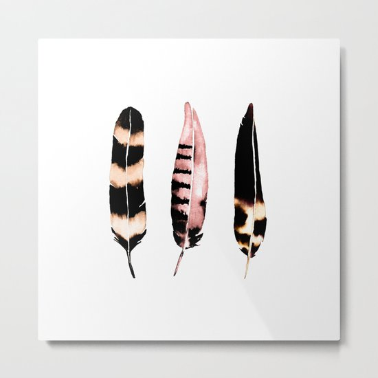 Feathers of Rose Gold Metal Print