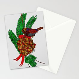 Little Bird In Evergreen Boughs Stationery Cards