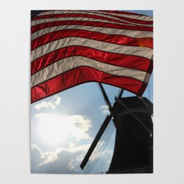 Flag over Windmill Poster