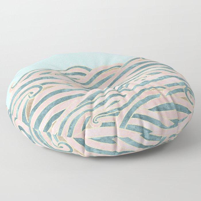 Venetian Waves // Vintage Abstract Pink Blue and Gold Summer Illustration Digital Beach Wall Decor Floor Pillow